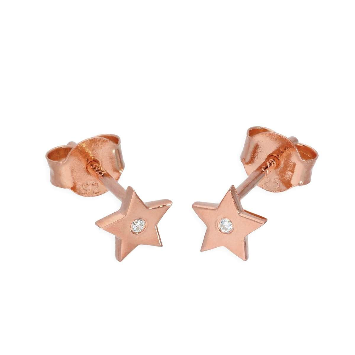 CHZ-1582_Rose_Gold_Dipped_Sterling_Silver_Genuine_Diamond_Star_Stud_Earrings